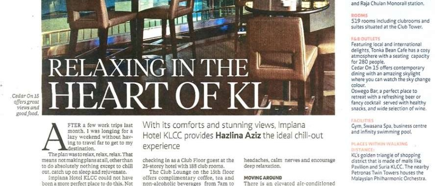 THE NEW STRAITS TIMES : IMPIANA KLCC HOTEL