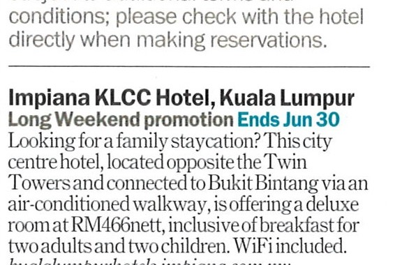 TIME OUT MAGAZINE : LONG WEEKEND PROMOTIONS