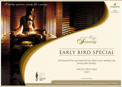 EARLY BIRD PROMOTION WITH SWASANA SPA