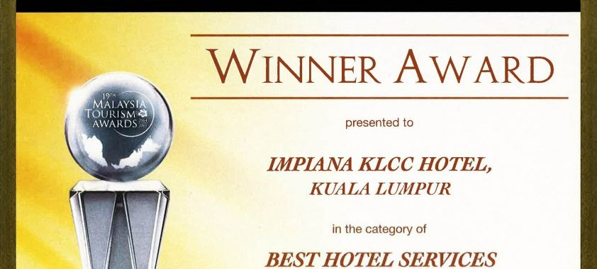 BEST HOTEL SERVICES AWARD FOR A 4-STAR HOTEL IN 19TH MALAYSIA TOURISM AWARDS 2014/2015