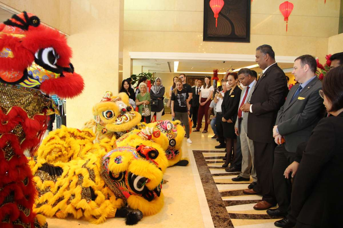 Auspicious lions gathering at the lobby to bless the management team